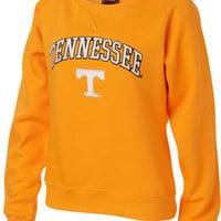 Tennessee Volunteers Women's Light Orange Tackle Twill Crewneck Sweatshirt