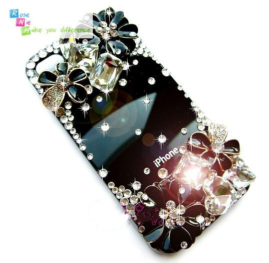 Free shipping iPhone 4 case, iPhone 4s case, case for iPhone 4 mobile case handmade: diamond cute flower i93510191 (custom are welcome)