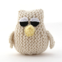Owl Toy Small Cream Sleepy Owlet by NattyKnits on Etsy