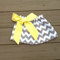 Girls Easter clothes. twirly skirt & yellow fabric bow. Mod grey white chevron. Custom children's clothing. By EverythingSorella.