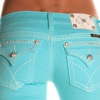 Amazon.com: Miss Me Denim Jeans Womens Crystals Thick Stitch Skinny Aqua JW5180S13: Clothing
