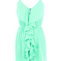 Zip Front Ruffle Dress - Kely Clothing