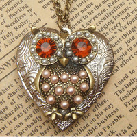 Steampunk Big Eye Owl Locket Necklace Vintage Style by sallydesign