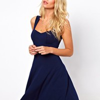 ASOS Sleeveless Skater Dress With Sweetheart Neck at asos.com