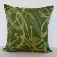 Decorative Green Throw Pillow Cover with Yellow by pillows4fun