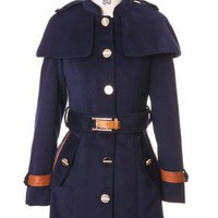 Chicwish Royal Blue Cape Coat with Belt - Retro, Indie and Unique Fashion