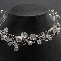 Bridal Choker Diamante Rhinestone and Swarovski by WeddingAndGems
