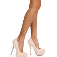 Nude Patent Cap Top Pumps