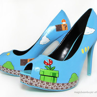 HandPainted Super Mario Heels Ready to Ship sz by magicbeanbuyer
