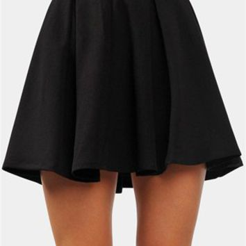Pleated Flare Skirt - Black