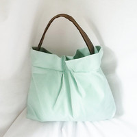 Mint Green Ultra Suede Hobo handbag  Animal Friendly by ACAmour
