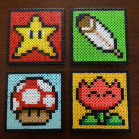 Perler Bead Coasters  Super Mario World PowerUps by kloudes