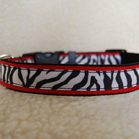Dog Collar &amp; Leash Set Custom Red Black and White by JustImagine1
