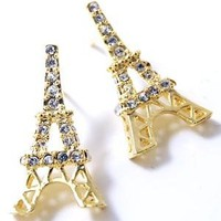 Gold Plated Sparkling Crystal Eiffel Tower Paris France Theme Stud Earrings: Jewelry: Amazon.com