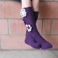 Purple flower crochet slipper socks