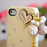 White Love heart Crystal Pearl Flower Deco Ice Cream Case Cover for iPhone 4 4S