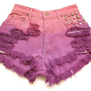 High waist dip dyed jean shorts XS by deathdiscolovesyou on Etsy