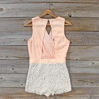 Sea Crystal Romper in Peach, Sweet Women's Bohemian Clothing
