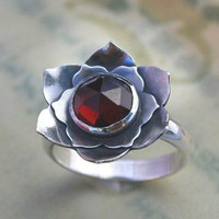 Lotus Garnet Sterling Silver Cocktail Ring by KiraFerrer on Etsy