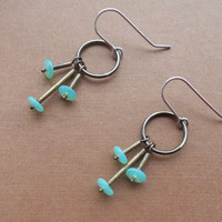 Brass Earrings with Glass Beads Teal Earrings by ErinAustin