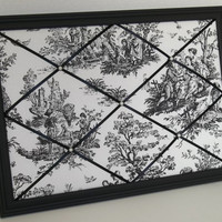 Colonial Toile Black &amp; White fabric ~ Black Wood Frame Memo Board by ToileChicBoutique