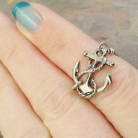 Silver Anchor Ring  Made in Your Size by MidnightsMojo on Etsy