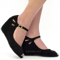 Midtown Wedge Flower Cut Black Sandals