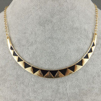 Ethnic Gold-tone Triangle Moon Pendant Collar Necklace Choker Metal Gothic Bib