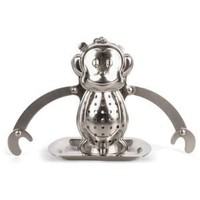 Kikkerland Monkey Tea Infuser and Drip Tray: Kitchen & Dining