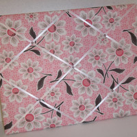 Daisy Cottage Floral Pink fabric~  French Memo Board by ToileChicBoutique