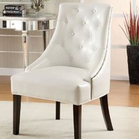 Amazon.com: Leather Like Lounge Chair in White Finish: Furniture & Decor