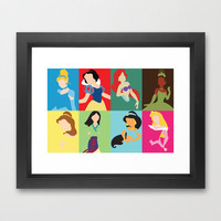 Disney Princesses Framed Art Print by Adrian Mentus | Society6