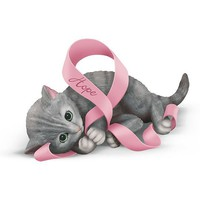 Breast Cancer Support Kitten Figurine Collection: Ribbons Of Purr-fect Hope
