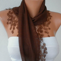 Brown Scarf   Cotton  Scarf  Headband Necklace Cowl by fatwoman/88960790