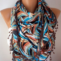 Women Scarf  Headband Necklace Cowl with Lace  by fatwoman on Etsy/93402546