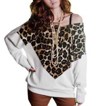 Allegra K Women Leopard Print Front Scoop Neck Bat Wing Sleeve Shirt White S: Clothing