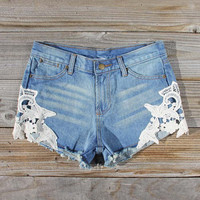 Denim & Lace Shorts, Women's Sweet Bohemian Clothing