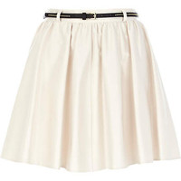 Cream belted skater skirt  - skirts - sale - women