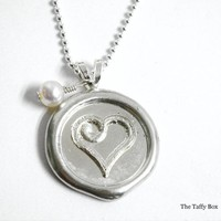 Wax Seal Pendant Necklace - Heart OR Monogram Letter | Luulla