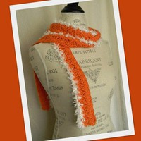 Fur Edge Skinny Scarf - Orange and White Handmade Ladies Fashion Scarf
