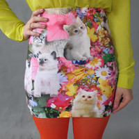 Kitty Garden Party Mini Skirt. XS