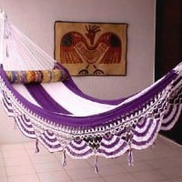 Nicamaka Couples Hammocks - Purple/White 5 Stripe
