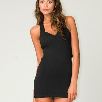 Motel Monica Cross Strap Bodycon Dress in Black - Motel Rocks USA