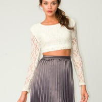Motel Bonnie Lace Crop Top in Cream - Motel Rocks USA