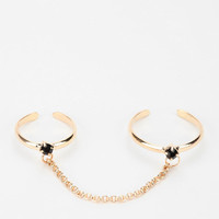 Black Diamond High/Low Double-Finger Ring