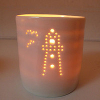 porcelain lighthouse tealight by luna lighting | notonthehighstreet.com