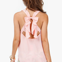 A'GACI Bow Back Chiffon Tank - TOPS