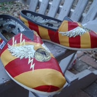 Harry potterGrifindor colorson  TOMS shoesmade to by ArtfulSoles