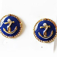 Fashion Anchor Circular Stud Earrings