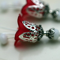 Vintage Style Red Lucite Flower and White Crystal Dangle Charm Drop Set - 2 Pieces